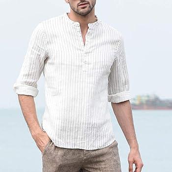 SoonerQuicker Camisa de Hombre Hombre Tres Cuartos Vintage Lino Sólido Manga Corta Camisetas Vintage Tops Blusa T Shirt tee(Amarillo S): Amazon.es: Ropa y accesorios