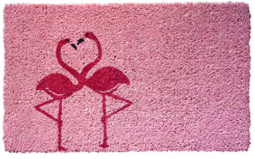 "Entryways Flamingo Handmade, Hand-Stenciled, All-Natural Coconut Fiber Coir Doormat,  18"" X 30"" X .75"""