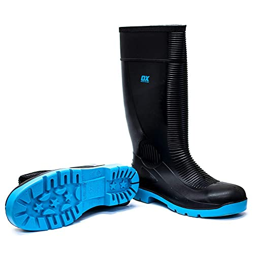 Size 10 Heavy Duty Safety Boot Black // Blue Steel Toe Cap Wellies OX Safety Wellington Boot