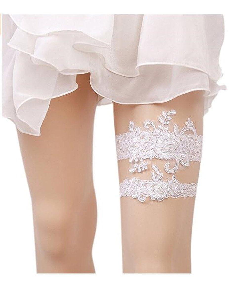 Xugq66 Rhinestones Lace Wedding Bridal Garter Belt 2pc