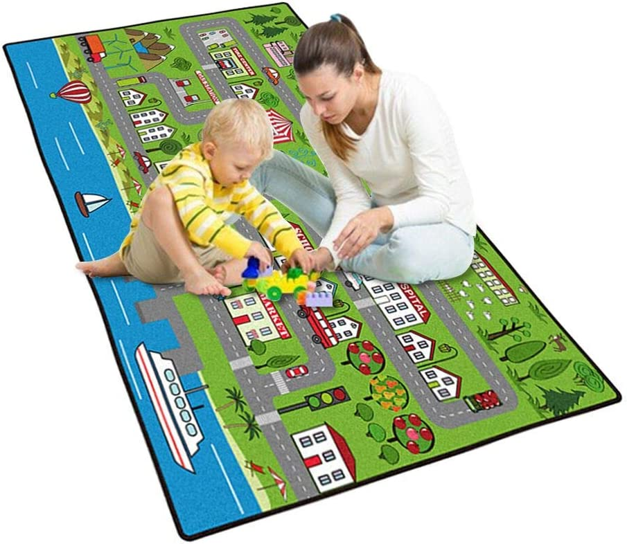 Childrens Rugs Baby Nursery Rugskids Rugs Carpet Girls Bedroom Playroom Play Mat School Classroom Learning Carpet Educational Rug,A,80/×120Cm