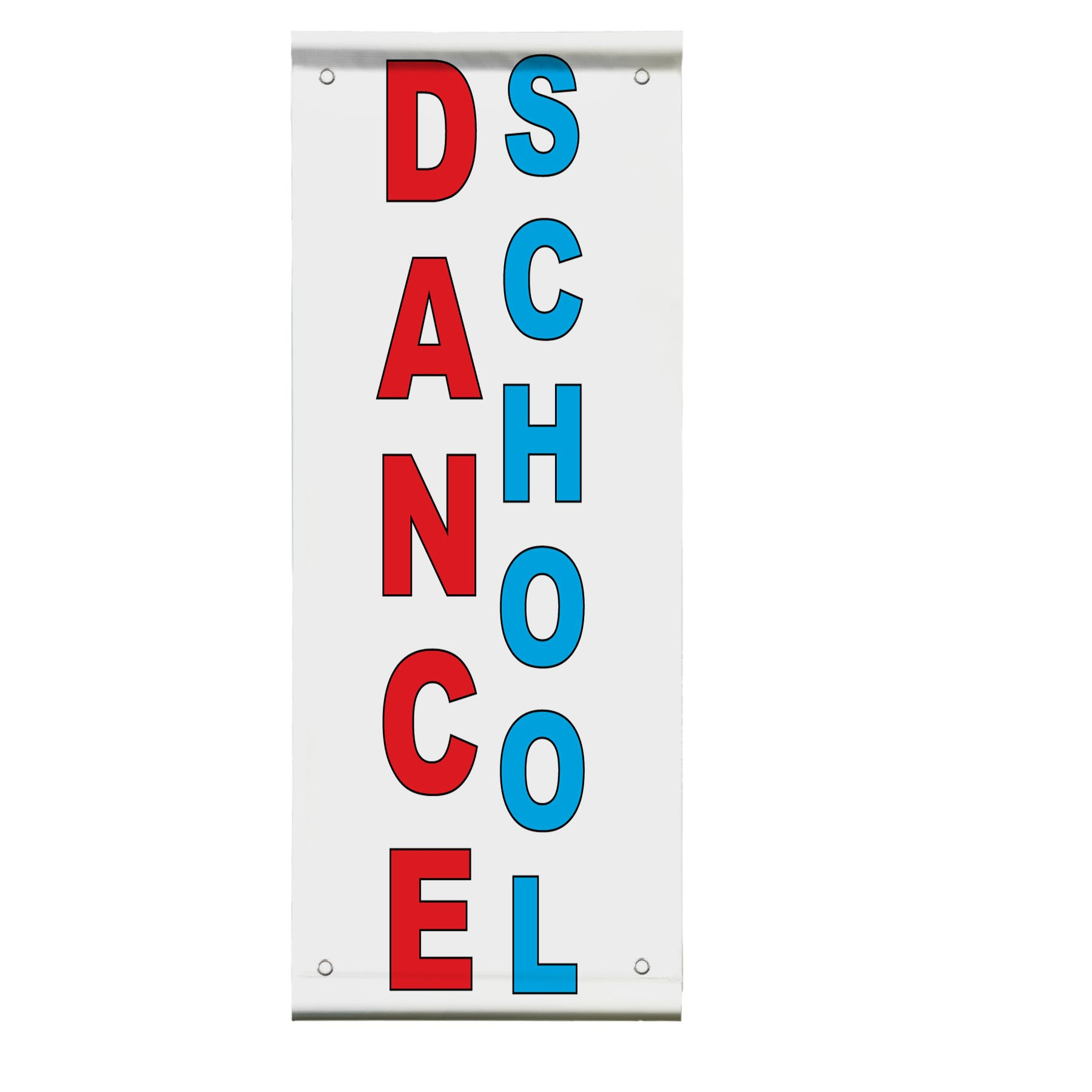 Dance School Red Blue Double Sided Vertical Pole Banner Sign 24 in x 36 in w/ Wall Bracket
