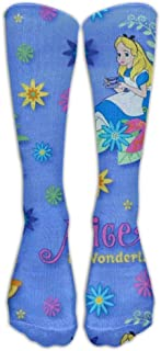 UFHRREEUR Cananhjs Alice in Wonderland Fashion Knee High Graduated, Compression Socks for Women And MenRunning & Fitness,Travel, Flight, Nurses & Medical,Pregnancy, Recovery And Performance.