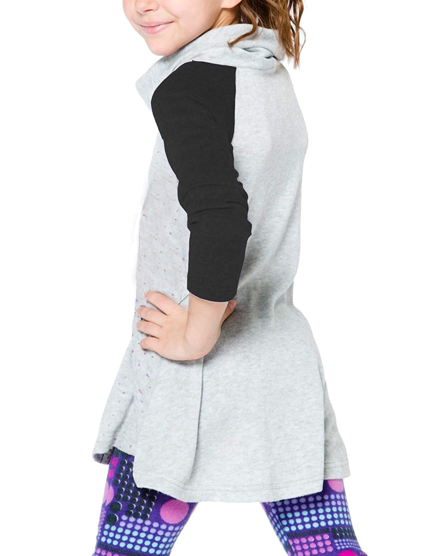 Gemijack Girls Cowl Neck Polka Dot Long Sleeve Tops Little Girls Fall Thermal Sweatshirt