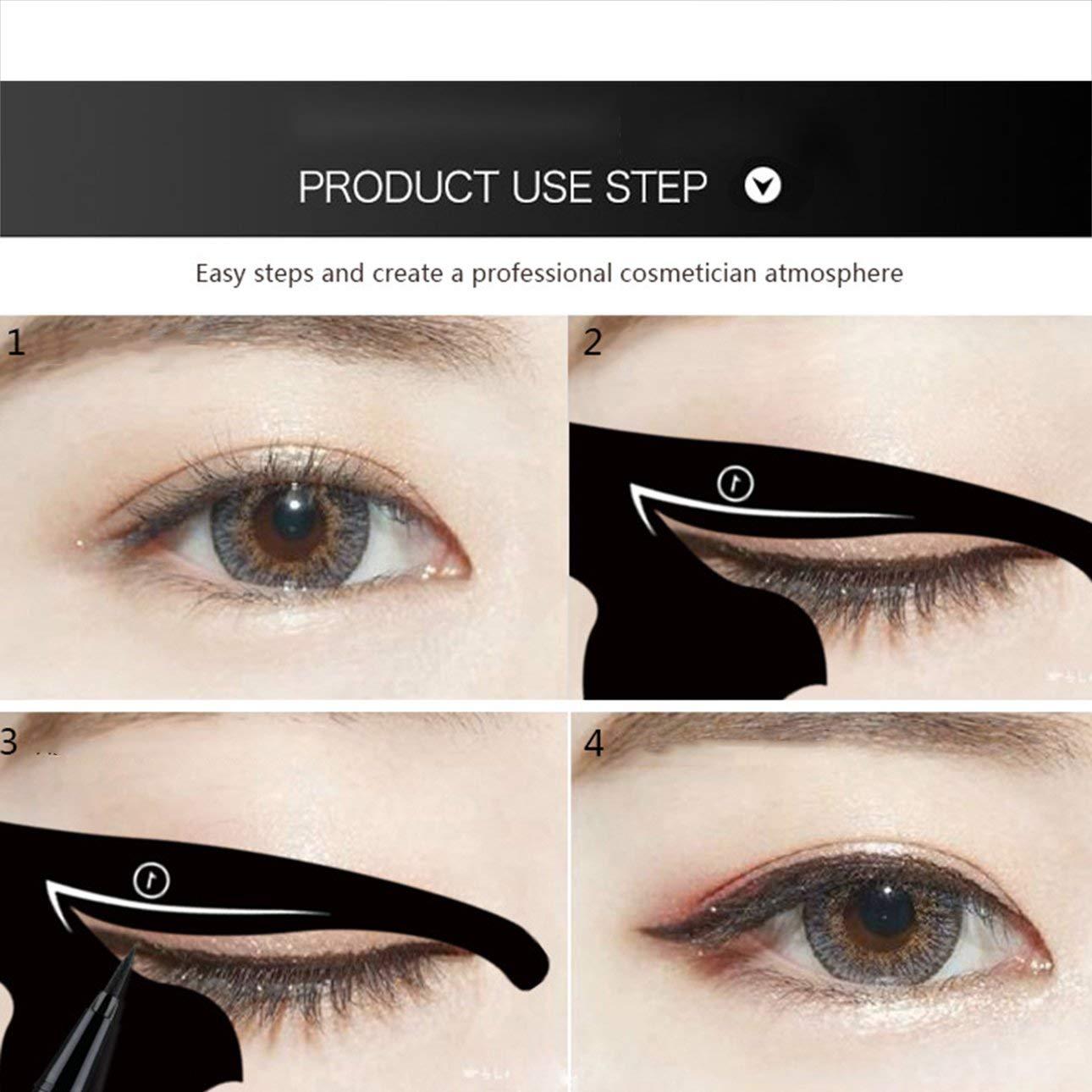 Ballylelly Mujeres de moda Cat Line Eye Makeup Eyeliner Plantillas únicas Plantillas Herramientas de maquillaje Kits para ojos Elegante delineador de ojos ...