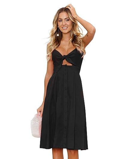 15aaeb282e4e Womens Dresses Summer Tie Front V-Neck Spaghetti Strap Button Down A-Line  Backless