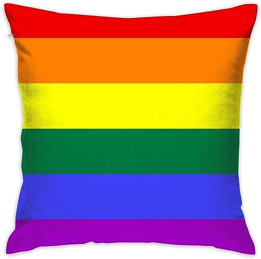 ShuicYcY LGBT - Funda de cojín cuadrada con diseño de bandera de orgullo gay (45 x 45 cm): Amazon.es: Hogar