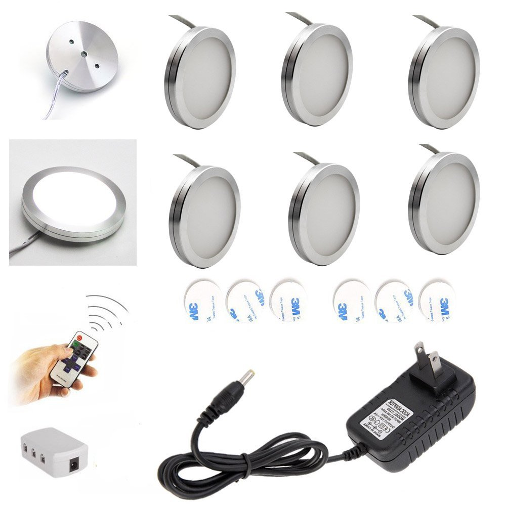 cabinet lighting 6. aiboo wireless led under cabinet lighting dimmer with rf remote control 6 puck lights total of 12w for kitchen closet wardrobe cold white e