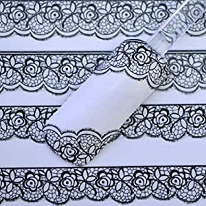 ZGY 3D Black Lace Design Nail Art Stickers Decals for Nail Tips Nail Decoration