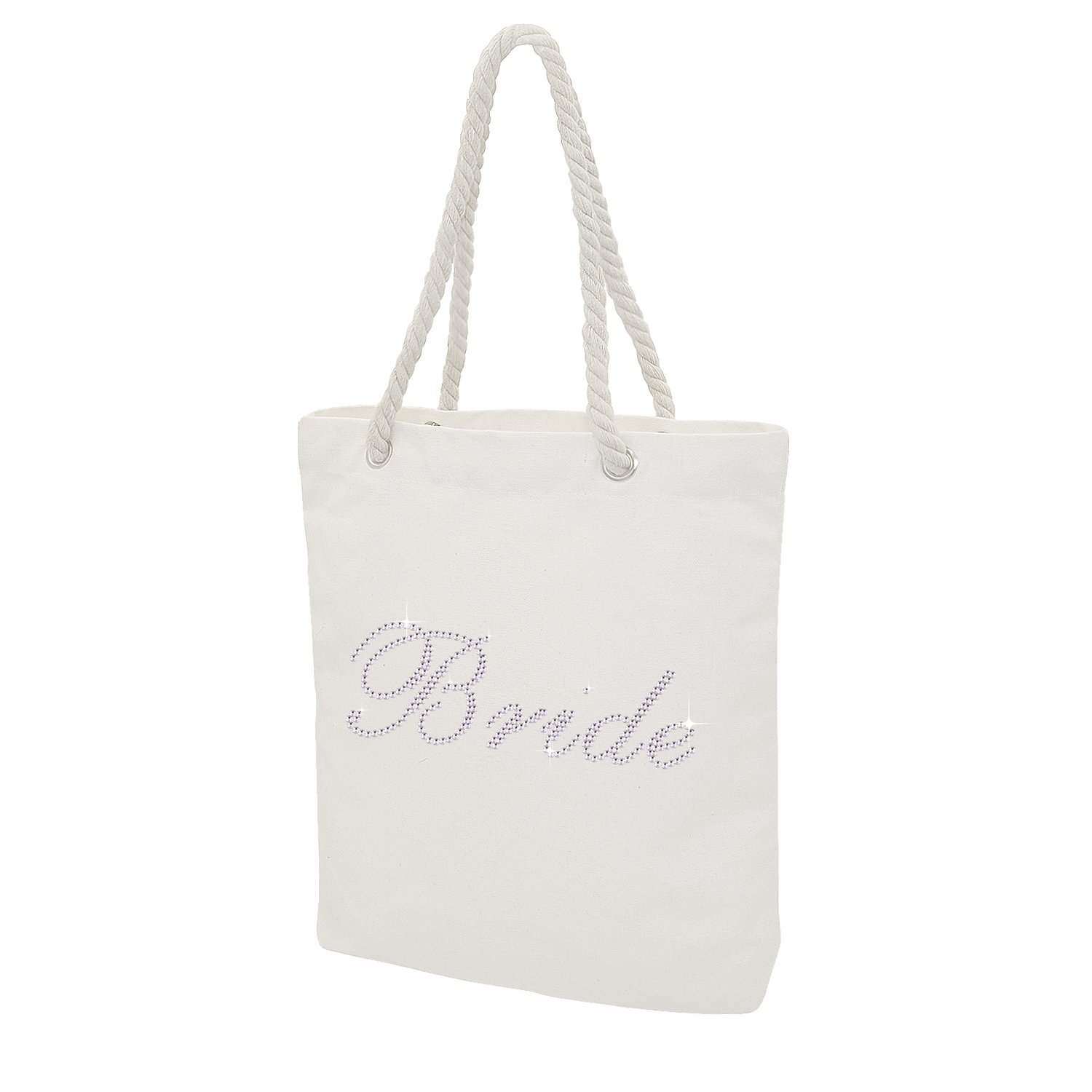 Elehere Custom Tote Bag Crystal Cotton Bags Rhinestone Bridal Shower Bachelorette Party Gift (Crystal - Bride)