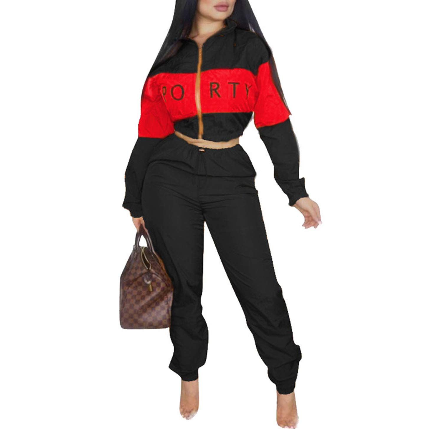 Casual Sweatsuit Crop Tops Long Sleeves Jacket High Waisted Pants Letter Black XL by Sherro