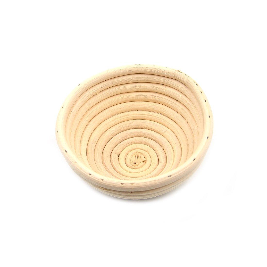AngelaKerry 1pcs 13x6cm (5'' Diameter) Banneton Brotform Round Bread Proofing Basket Handmade