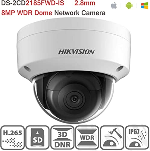 Hikvision 8MP Network Dome Camera DS-2CD2185FWD-IS 2.8MM Lens with H.265 PoE IP67 IK10 ONVIF Indoor IP Camera English Version Support Upgrade
