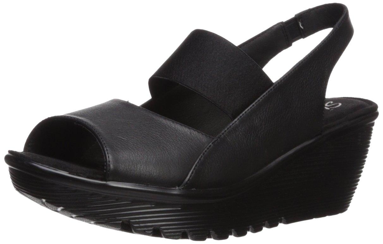 Skechers Women's Parallel-Strut Wedge Sandal B06XKMZJMW 8.5 B(M) US|Black