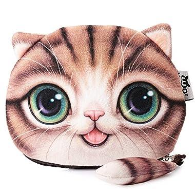 fashionbeautybuy™ Women Girls Wallet Bag Cartoon Cat Coin Purse Zipper Design Change Handbag Card Case (Coffee)