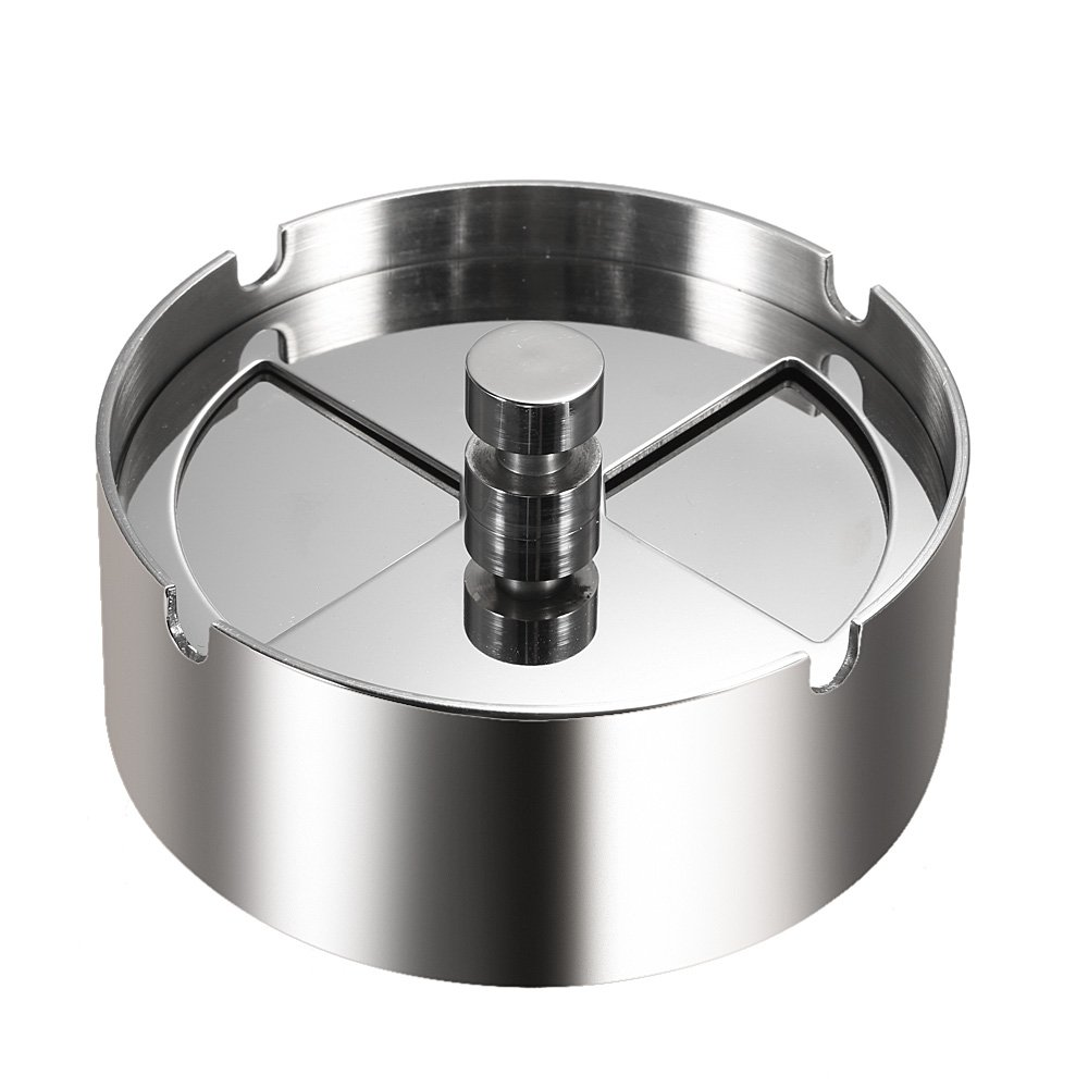 Walmeck High-grade Stainless Steel Round Revolving Ashtray with Spinning Tray Wind-proof Ash-tray for Hotel