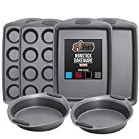 Gorilla Grip Original Kitchen Bakeware Sets, 6 Piece Baking Set with Silicone Handles, Includes 2 Large Size Cookie Sheets, 2 Round Oven Baking Cake Pans, Two 12 Cup Cupcake Pan, Gray