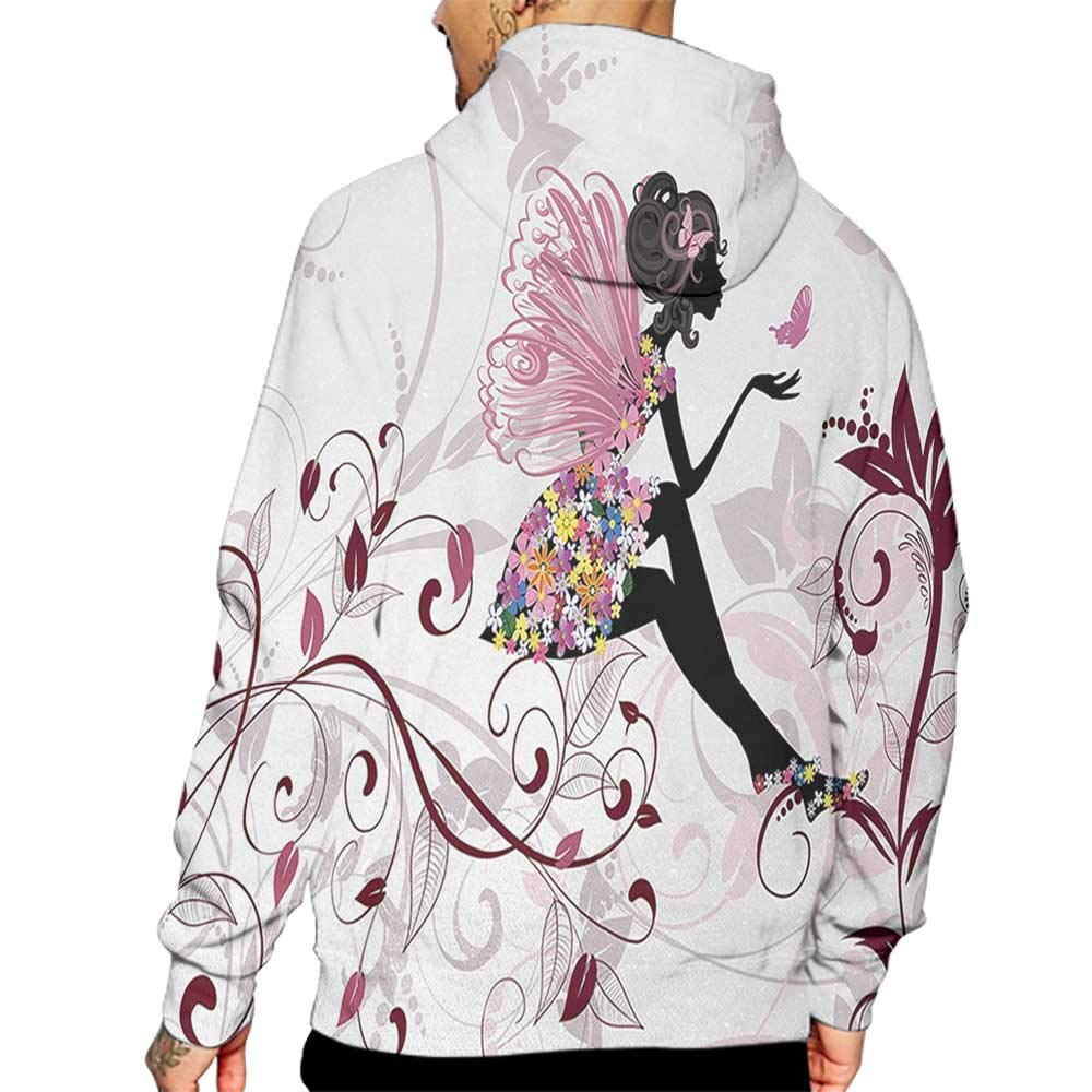 Unisex 3D Novelty Hoodies Princess,Flower Fairy with Butterflies Wings Branches Ornaments Floral Spring Forest,Maroon Black Pink Sweatshirts for Women Plus Size