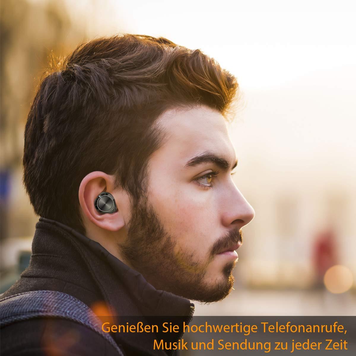 Bluetooth Kopfhörer In Ear Sport Kabellose Kopfhörer Bluetooth 5.0 Ohrhörer True Wireless Earbuds 3000mAh Batterie 7 Stunden Spielzeit One Step Pairing Touch-Funktion Hi-Fi Stereo IPX5 Wasserdicht