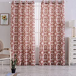 "Haperlare Floral Linen Curtains,Medallion Print Poly Linen Textured Grommet Top Curtains Window Treatment Drapes for Bedroom - 52"" W x 95"" L(Rust Red/Taupe, Set of 2 Panels)"