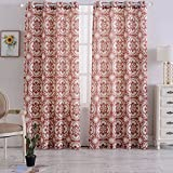 Cheap Haperlare Medallion Poly Linen Curtains,Floral Print Flax Linen Textured Grommet Top Curtains Window Treatment Drapes for Bedroom – 52″ W x 84″ L(Rust Red/Taupe, Set of 2 Panels)