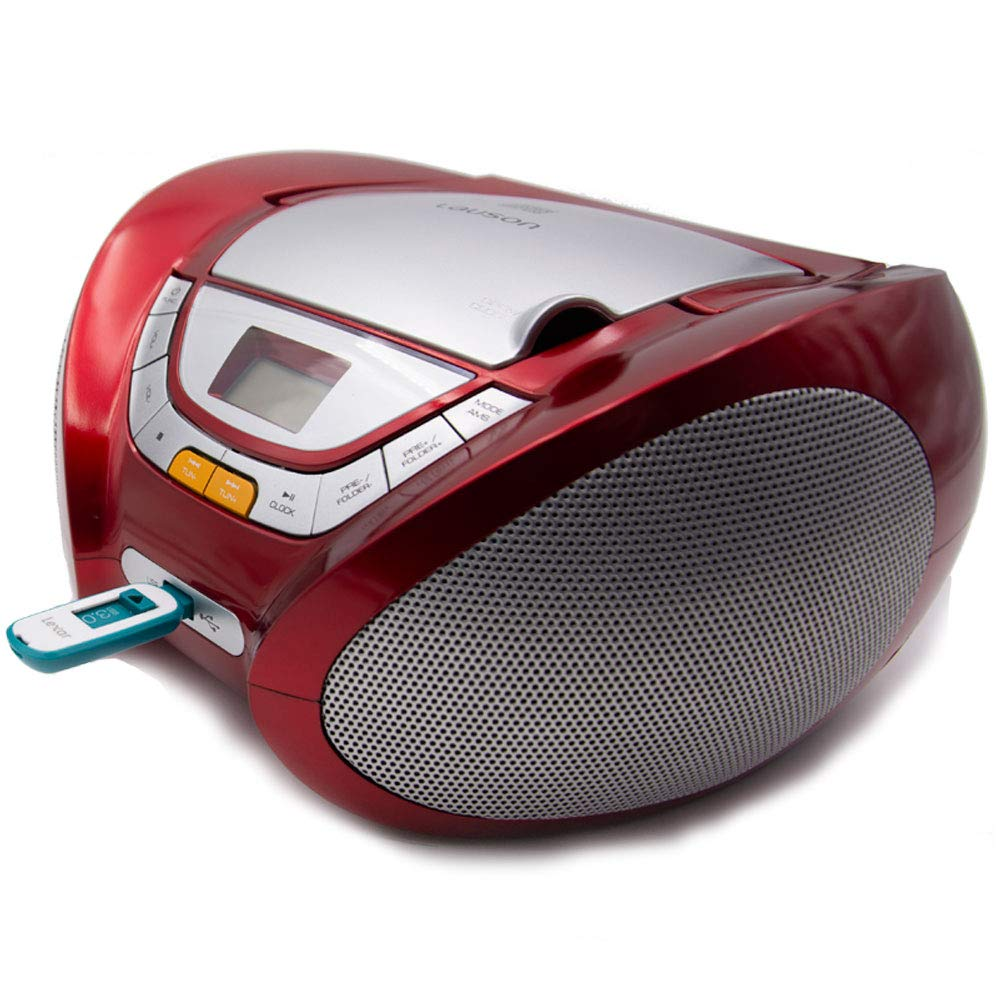 Lauson Boombox whit Cd Player Mp3   Portable Radio CD-player Stereo with USB   Usb & MP3 Player   Headphone Jack (3.5mm) CP542 (Red) by Lauson Woodsound (Image #5)