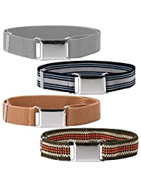 Ava & Kings 4 Pack Childrens Boys Mixed Design 1 Inch Adjustable Elastic Easy Belts - Quick Buckle Clasp w/Soft, Comfortable, Stretchy Waistband for Kids Toddlers Baby - Set 5: Gray Tone Stripes
