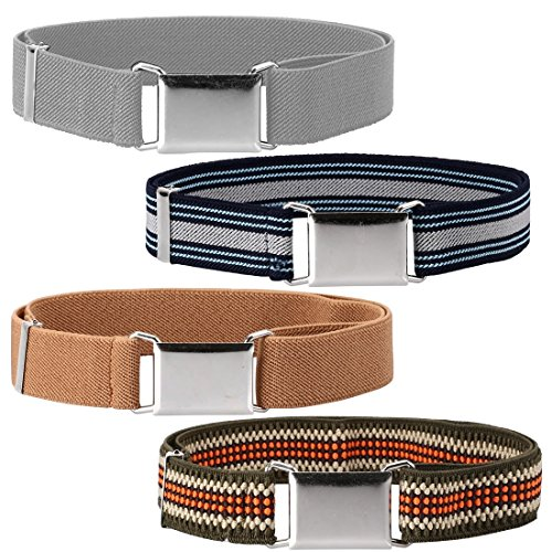 Ava & Kings 4 Pack Childrens Boys Mixed Design 1 Inch Adjustable Elastic Easy Belts - Quick Buckle Clasp w/Soft, Comfortable, Stretchy Waistband for Kids Toddlers Baby - Set 5: Gray Tone Stripes by Ava & Kings