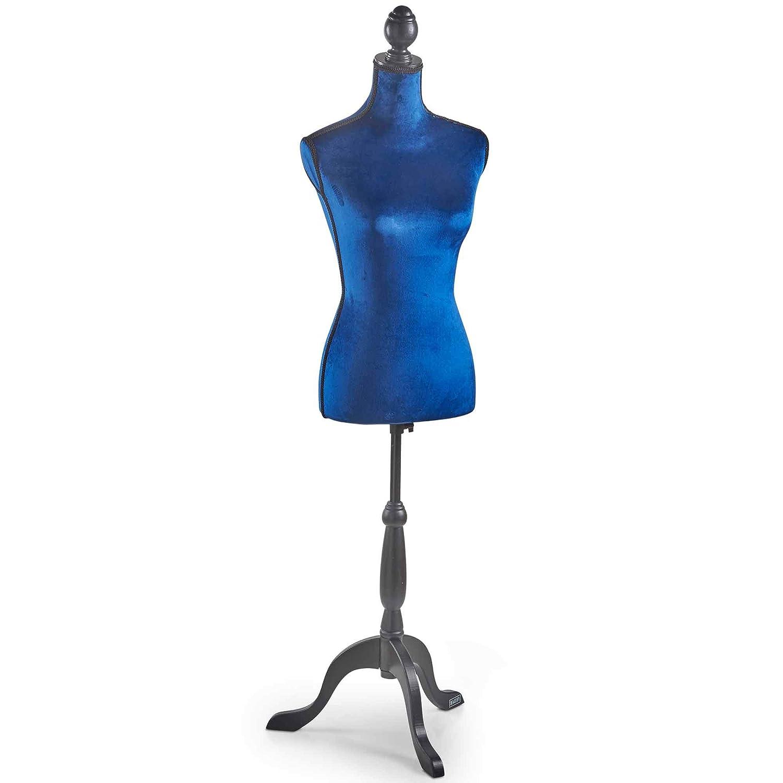 Beautify Manichino per sarti dalla Forma di Torso Femminile, Altezza Regolabile e piedistallo con treppiede Misure EU 36/38 - in Velluto Blu Scuro e Nero