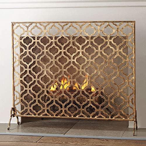 """暖炉スクリーン MYL 単一のパネル小型Flatguardゴールド暖炉スクリーン、金属メッシュ、無料立ちスパークガード、37"""" W×30"""" Hソリッド鍛鉄フレーム (Color : Gold, Size : 93×20×76cm)"""
