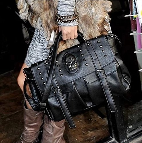 Women Motorcycle Hobo Handbag Punk Style Pu Leather Skull Shoulder Bag Tote Bags Satchel ()