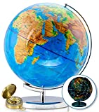 13 Inch Illuminated World Globe by GetLifeBasics: Earth and Star Constellation Sphere Night Light for Office, Kids Room, or Traveler plus Compass and Educational Ebook