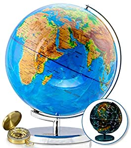World Globe with Illuminated Constellations - 32 cm Light Up Globe For Kids & Adults - Interactive Earth Globe Makes Great Educational Toys, Office Supplies, Teacher Desk Décor, More by Get Life Basics