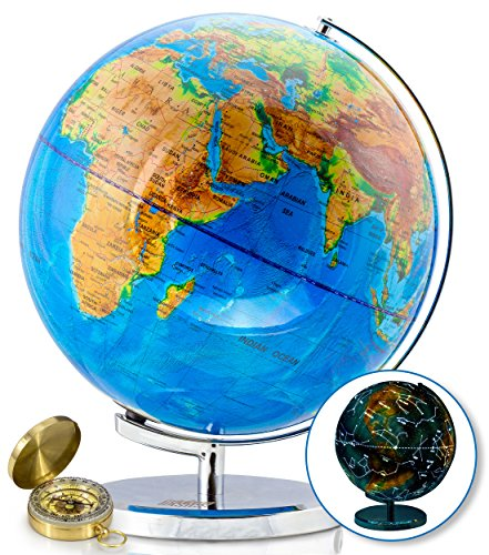 13 Inch Illuminated World Globe by GetLifeBasics: Earth and Star Constellation Sphere Night Light for Office, Kids Room, or Traveler plus Compass and Educational Ebook by GetLifeBasics