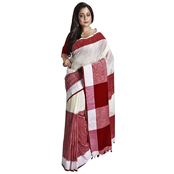 f66460e555 Avik Creations Women's Bengal Khadi Handloom Pure Cotton saree Red White