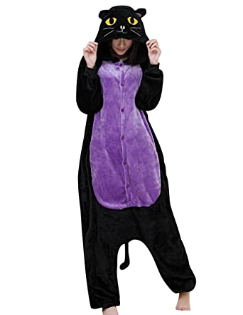 Amazon.com  JudyBridal Unisex Cartoon Black Cat Onesie Adult Pajamas Costume  Sleepsuit  Clothing 1d783eef4