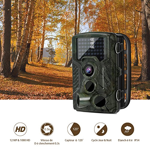 """LESHP Game and Trail Camera 12MP 1080P HD With Time Lapse 65ft 120° Wide Angle Infrared Night Vision 42pcs IR LEDs Waterproof IP66 2.4"""" LCD Screen Scouting Camera Deer Camera Digital Surveillance"""