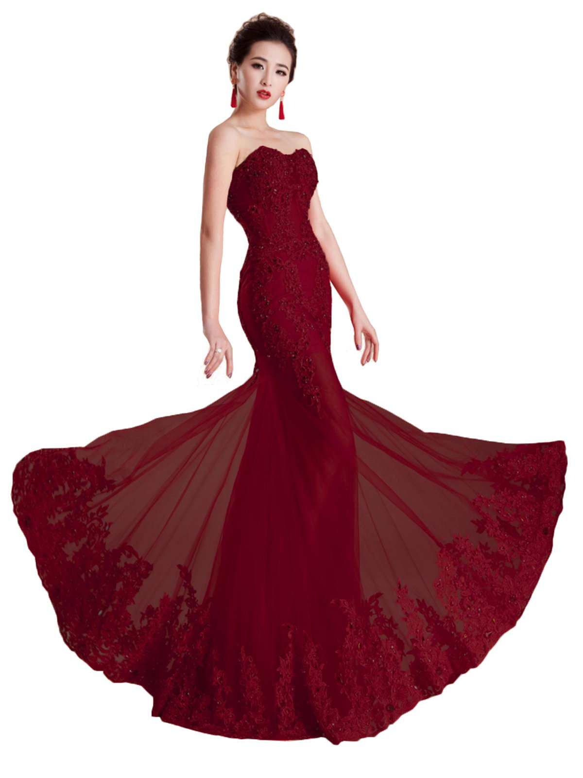 FELALA Women's Sweetheart Mermaid Lace Long Evening Prom Dresses Burgundy 10