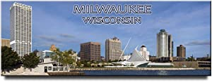Milwaukee panoramic fridge magnet Wisconsin travel souvenir