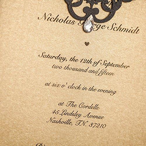 Luxury Rhinestone Gem Diamond Floral Wedding Invitations Elegant Black Laser Cut Party Decorations Friend Cards LA825 (100) by Wishmade (Image #5)