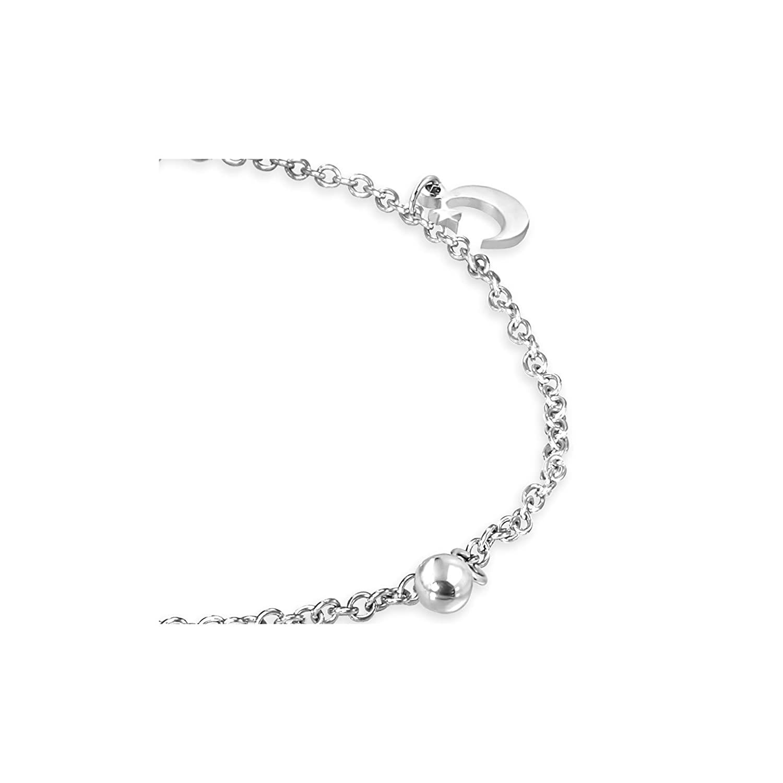 Stainless Steel Half-Moon Crescent Jingle Bell Charm Extender Chain Bracelet// Anklet