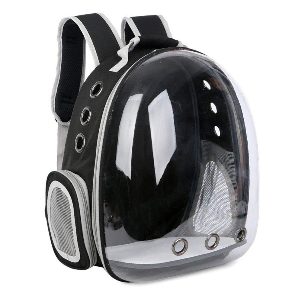 Black Pet Backpack Dog Space Bag Cat Travel Bag Puppy Portable Capsule 360° Transparent Breathable Sightseeing Backpacks Outdoor,Black
