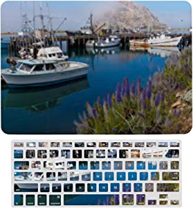MacBook Pro 13 inch Case 2020 2019 2018 2017 Release A2159 A1989 A1706, Plastic Hard Shell Case&Screen Protector with Keyboard Cover, USA California. Docked Boats at Morro Bay