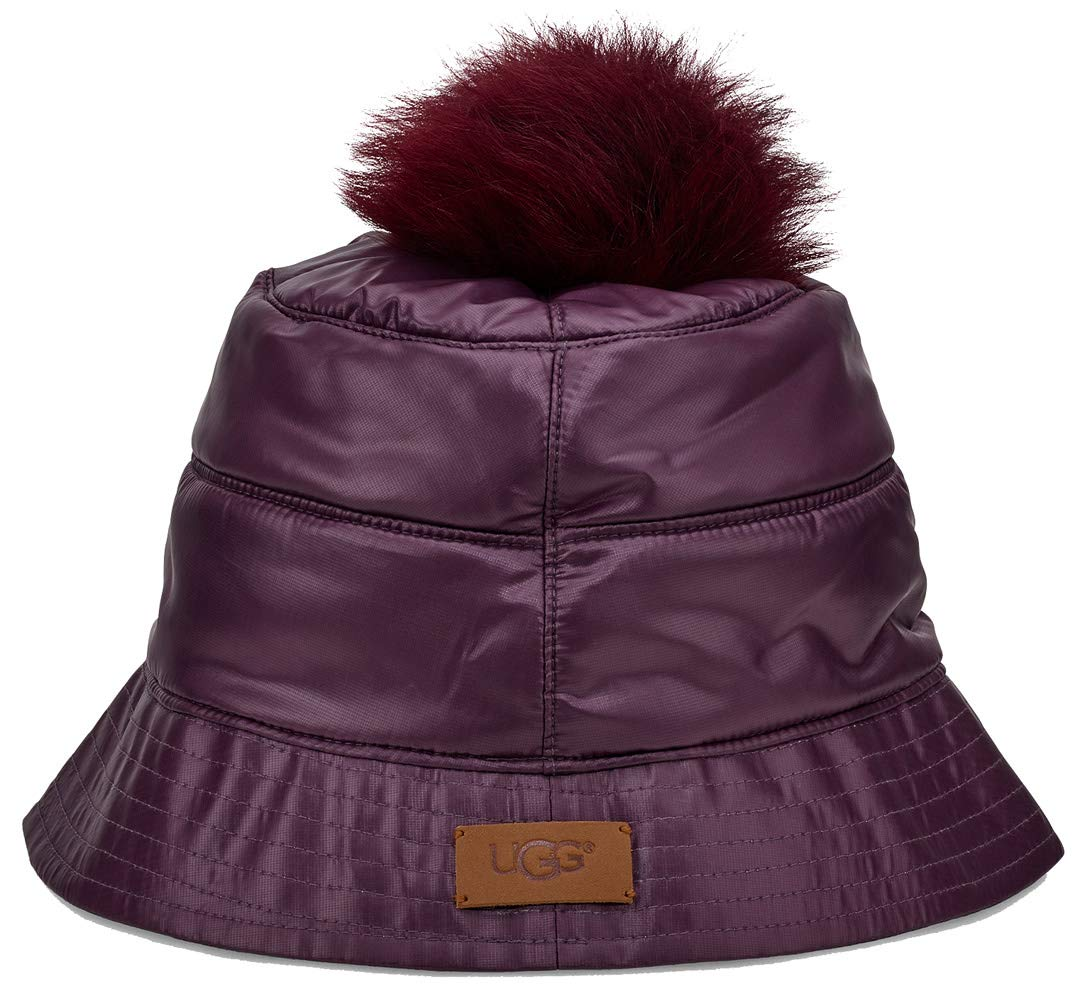 UGG Womens All Weather Bucket Hat W/Pom, Port, Size Large/X-Large