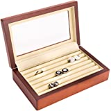 Wood Cufflink Box with Glass Top and Velour Lining