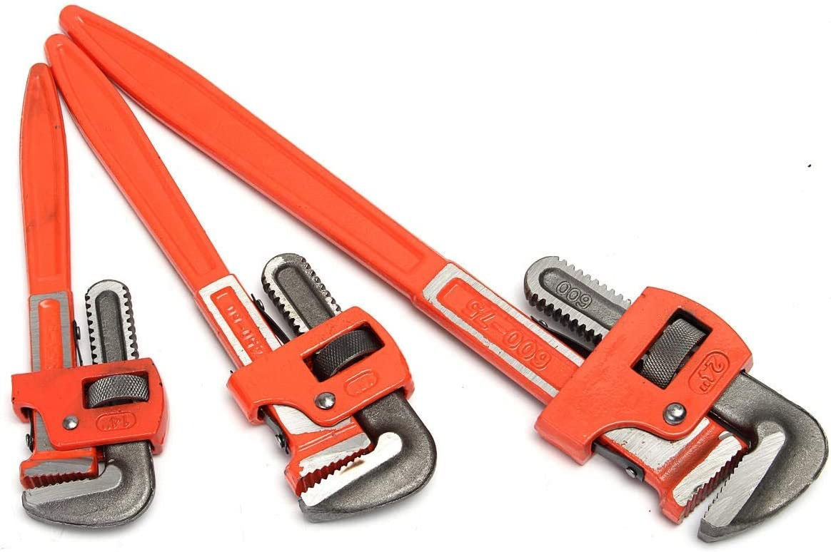 GLG-GLG Hand Tools 3Pcs Heavy Duty Pipe Wrench Adjustable Set 14inch 18inch 24inch Monkey Soft Grip Wrenches
