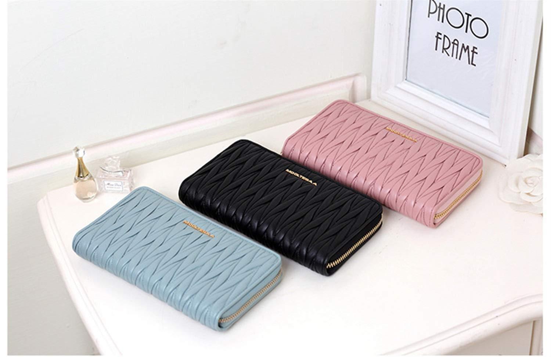 MAGAI Leder Brieftasche Damen Schaffell Brieftasche Reißverschluss Damen Brieftasche Brieftasche Brieftasche Langen Abschnitt (Farbe   Blau) B07MQZ3Y4V Geldbrsen df1b97
