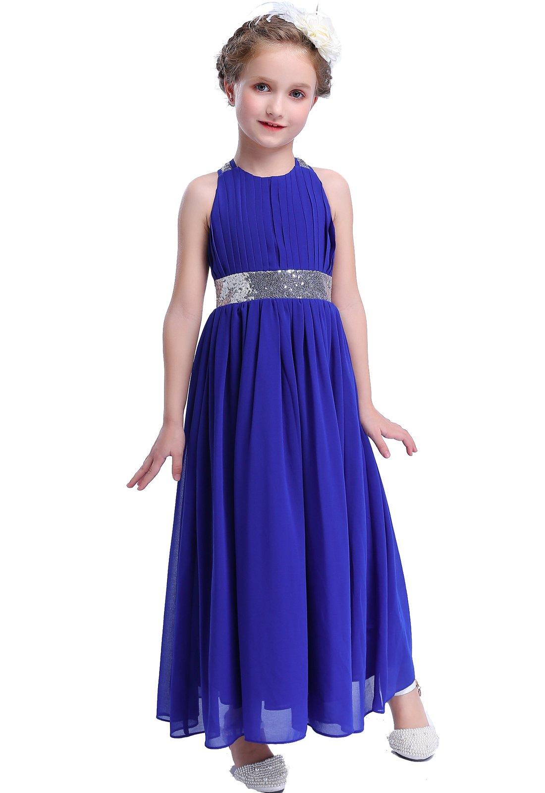 Happy Rose Bling Bling Sequins Chiffon Girls Dress Royal Blue Size 14