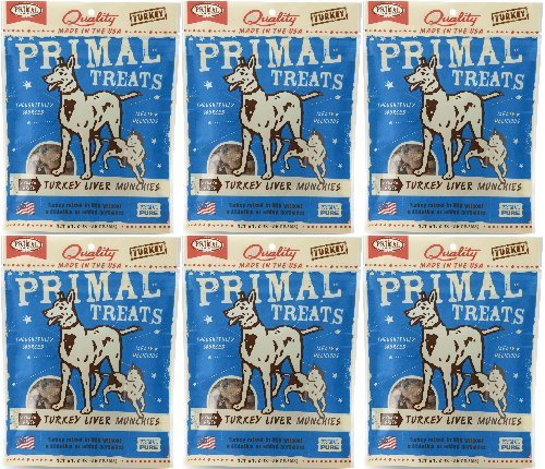 Turkey Liver Treats - Primal Treats Freeze-Dried Turkey Liver Munchies 12oz (6 x 2oz)