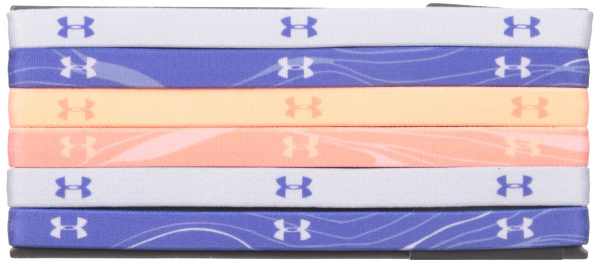 Under Armour Girls' Graphic Headbands - 6 Pack, Deep Periwinkle /Playful Peach, One Size Fits All